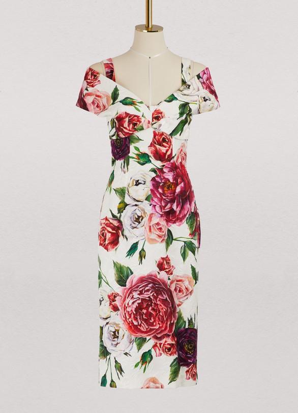 Dolce & GabbanaPeony print midi dress