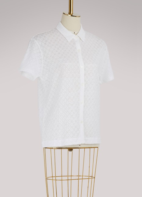 Majestic Filatures Embroidered short-sleeve shirt