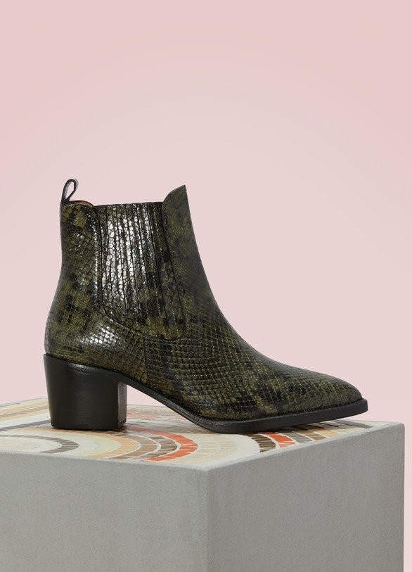 Vanessa Bruno Snake Print Ankle Boots