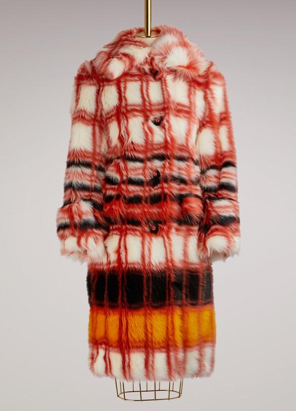 MIU MIUManteau à carreaux Eco Fur