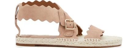 ChloÉ Lauren Flat Suede Wrap Sandals In Maple Pink