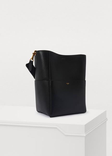 CELINESangle bucket bag in grained calfskin