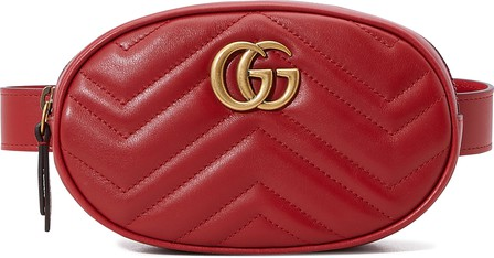 Gucci Gg Marmont 2.0 Matelasse Leather Belt Bag - Red In Hibis Red/Hibis Red