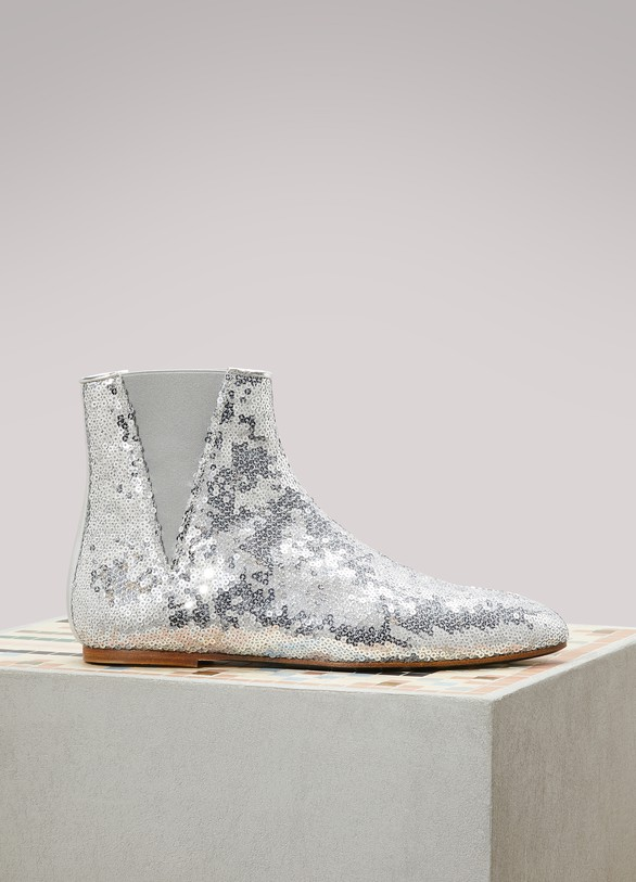 LoeweFlat sequined ankle boots