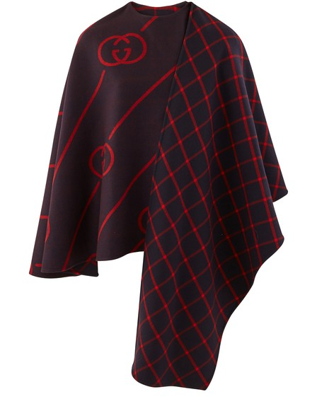 Gucci Interlocking-G Diagonal Stripe Wool & Silk Cape In Bluered
