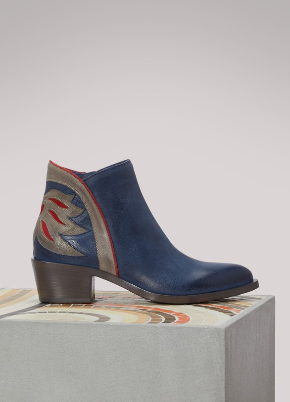 Sartore Flamm leather Western ankle boots