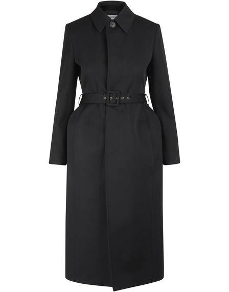 Balenciaga Single Breasted Hourglass Cotton Twill Trench Coat In 1000