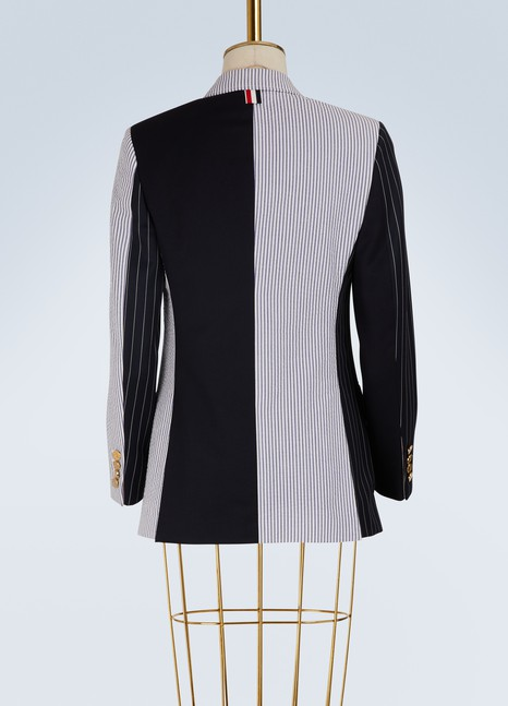 Mixed stripe wool blazer Thom Browne Latest Collections Cheap Online From China 3HHIfWt