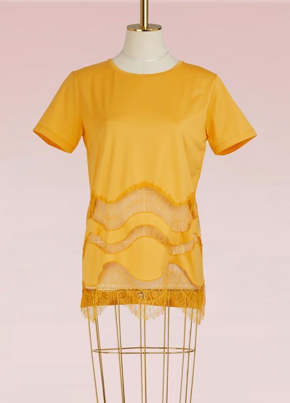NINA RICCIT-shirt avec inserts en  dentelle
