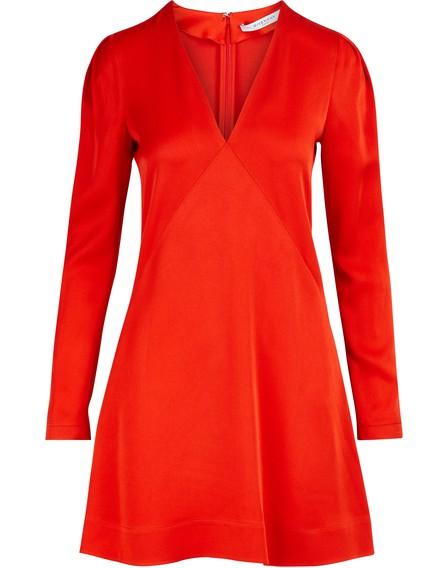 Givenchy Crepe-Back Satin V-Neck Dress In Red