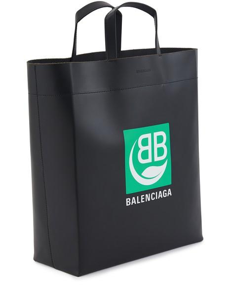 BALENCIAGAGreen Logo leather tote bag