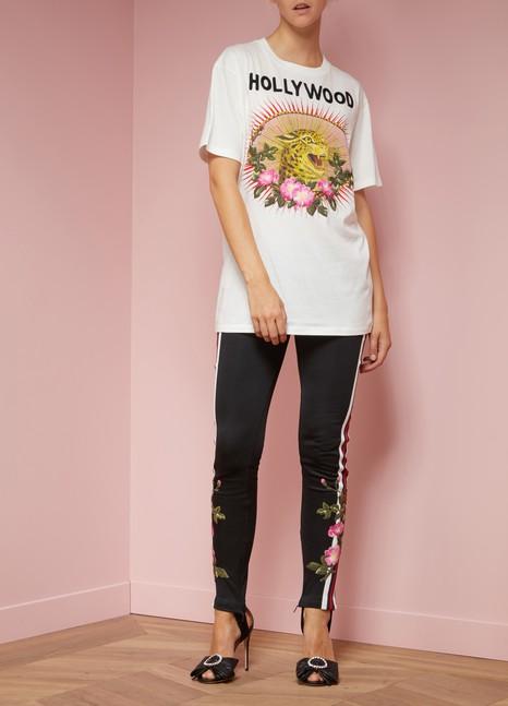 GUCCIT-shirt en coton à imprimé léopard