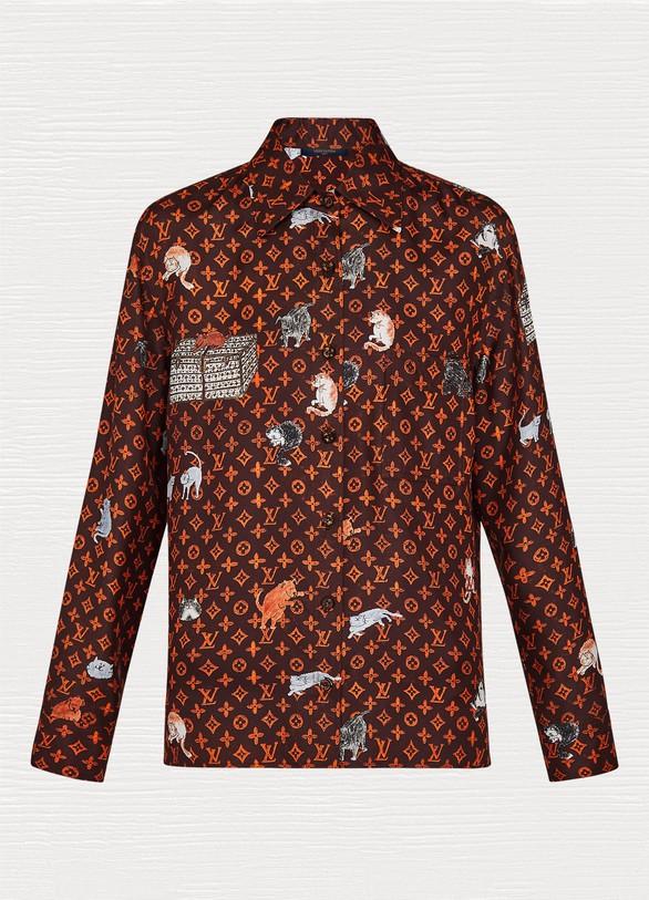 Chemise à manches courtes imprimée Catogram femme   Louis Vuitton ... f7d3fbc3858