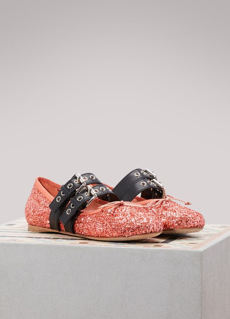 Miu MiuGlitter ballet pumps