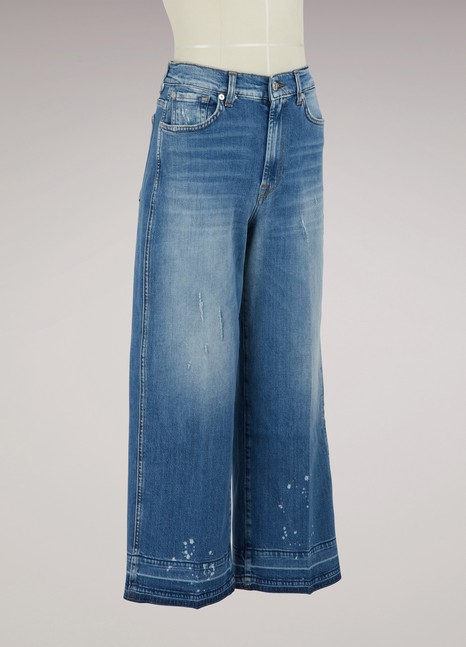 7 FOR ALL MANKIND Jean jupe-culotte taille haute Marnie