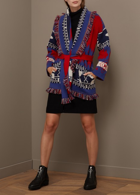 ALANUIFringed jacquard cashmere cardigan