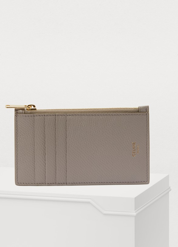 cheap for discount 7fd3d 98222 Zipped compact card holder in grained calfskin
