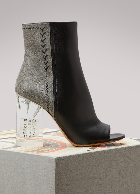 MAISON MARGIELA Bottines en cuir à talon transparent