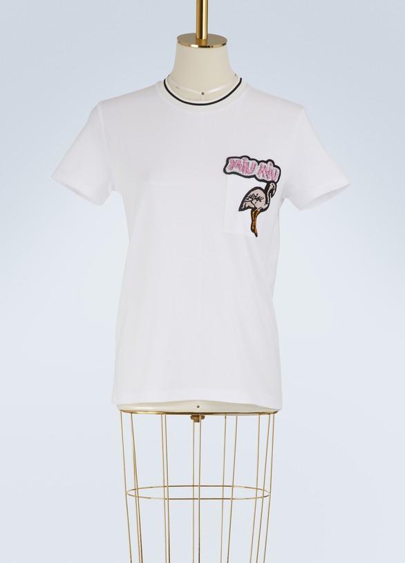 MIU MIUT-shirt à logo brodé