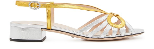 GUCCIMetallic leather sandals