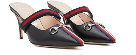 GUCCI Webbed leather mules