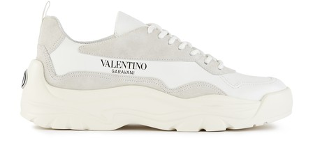 Valentino Garavani Gumboy Suede-Trimmed Leather Sneakers In White