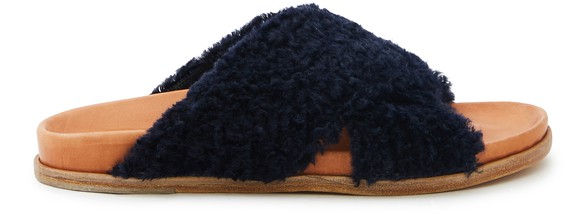 FORTE FORTEFake fur cross over sandals