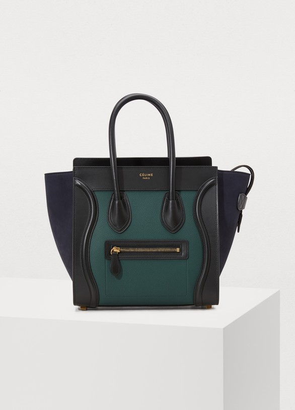Celine Micro Luggage Handbag In Grained Calfskin
