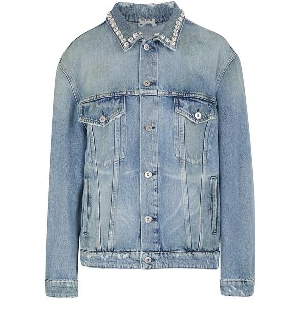 Jewel Collared Denim Jacket by Miu Miu