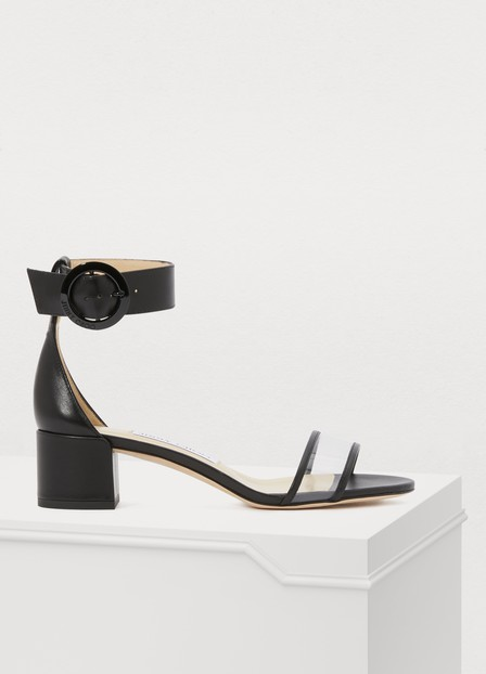 Jimmy Choo Jaimie Leather And Pvc Block-Heel Sandals In Black/Clear