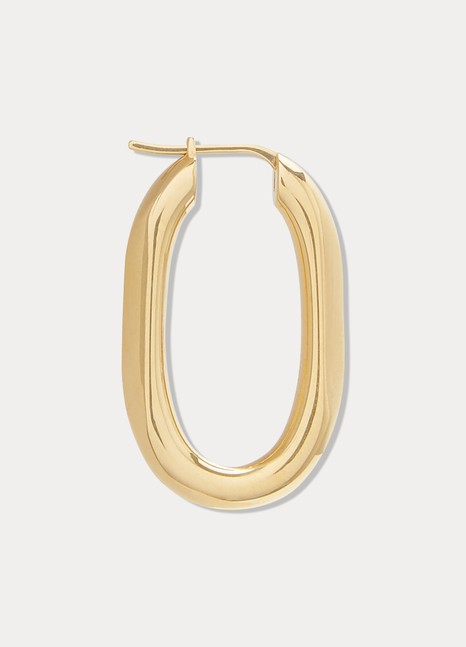 CelineTriomphe small chain hoop earrings in brass with vintage gold finish