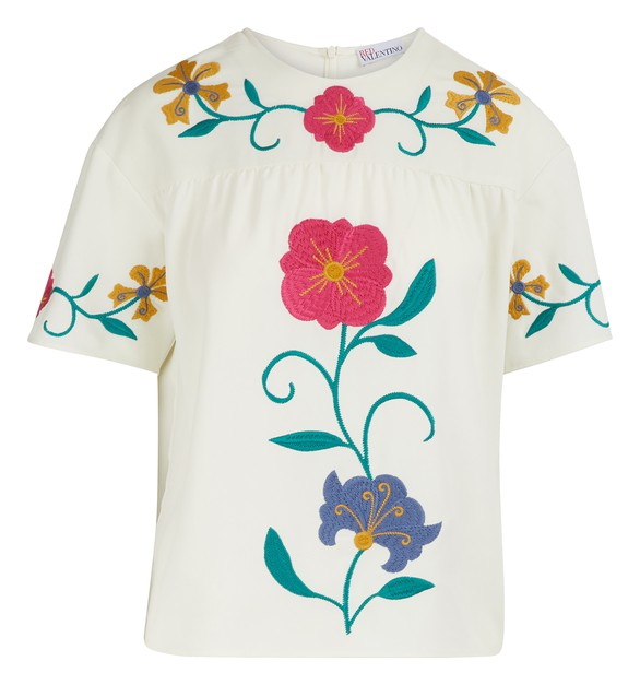 RED VALENTINOMexican Flower embroidered top