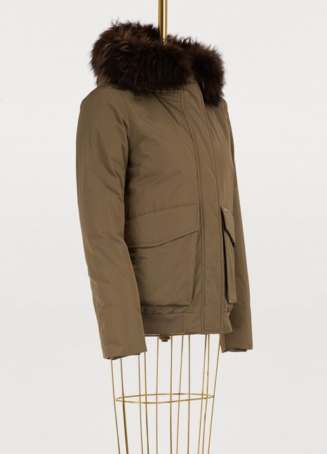 WoolrichShort fur-lined bomber jacket