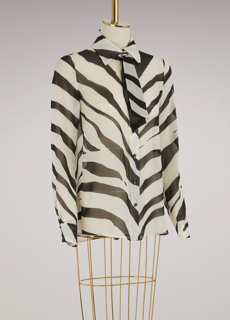 LanvinGeorgette Zebra Blouse