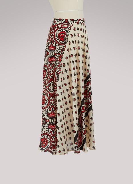Red ValentinoBandana print long skirt