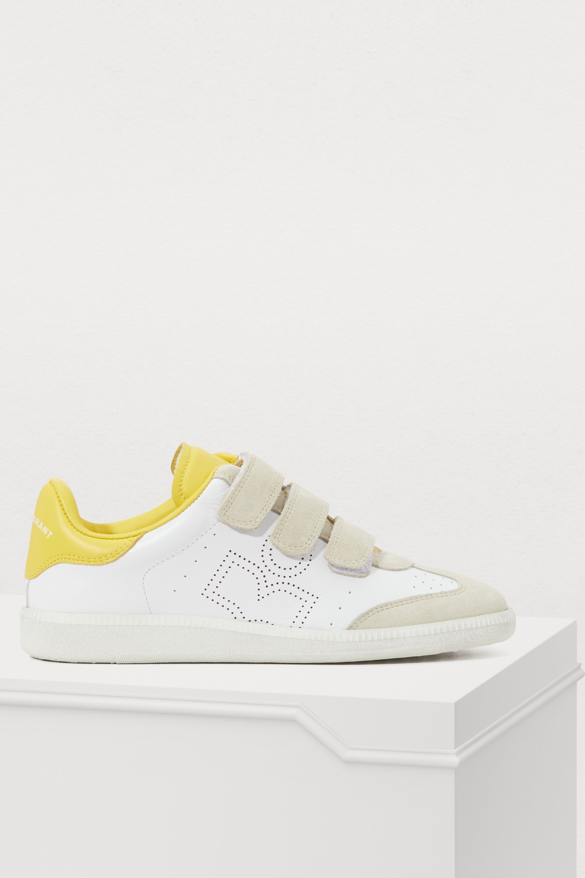 Isabel Marant Beth Contrast-Panel Suede And Leather Trainers In Yellow
