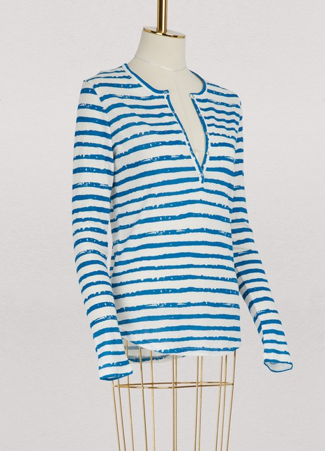 Majestic Filatures Striped long-sleeved Tunisian collar T-shirt