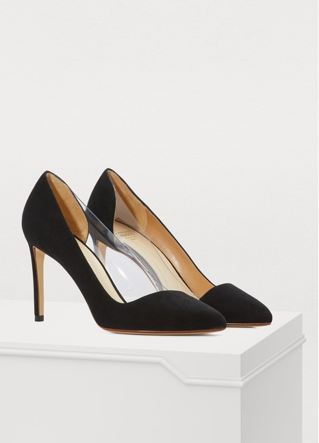 Francesco Russo Asymmetric suede and PVC heels