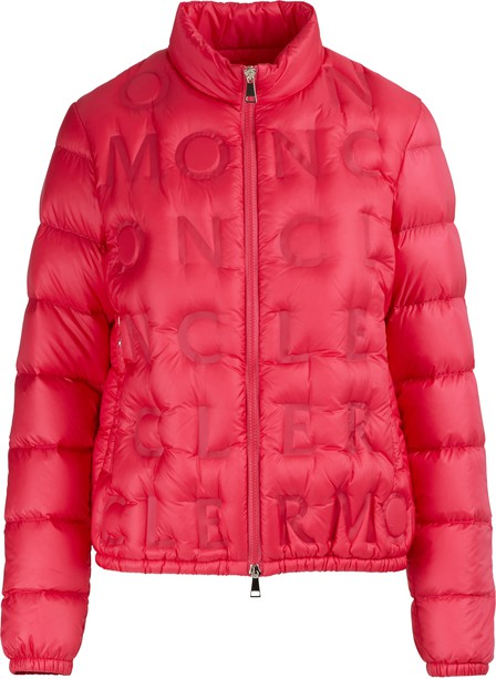 Moncler Vilnius Quilted-Letter Down Jacket In Fuschia