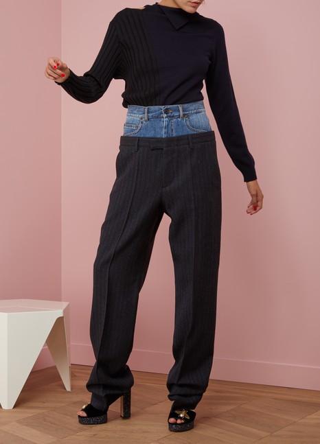 Maison MargielaPantalon en laine avec ceinture en jean