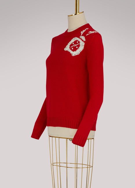 Miu Miu Clock Embellished Wool Sweater