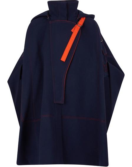 ChloÉ Virgin Wool Blend Buckled Shoulder Cape In Navy