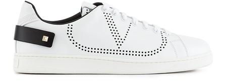 Valentino Low-Top Sneakers Backnet Calfskin Logo Rivets Marine White In White / Black
