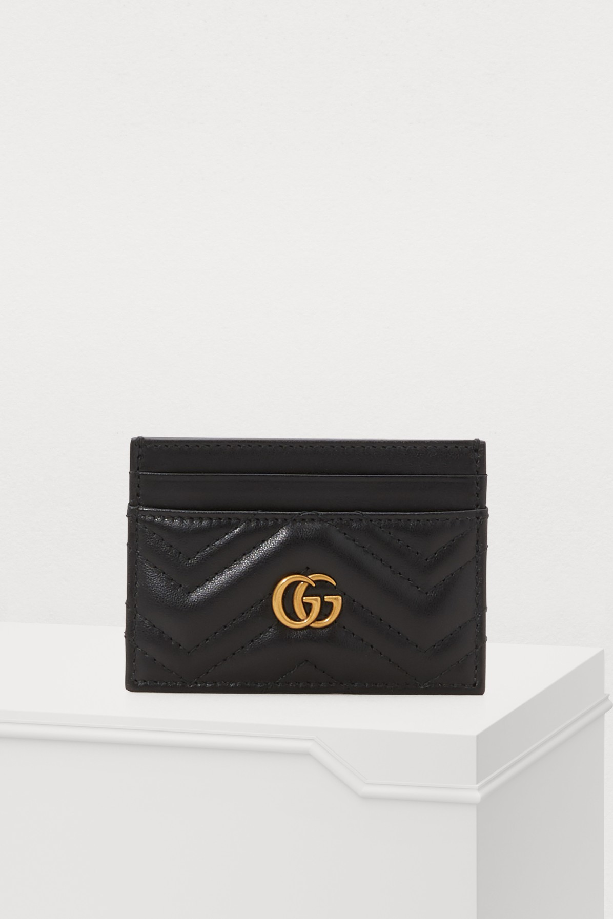 Gg Marmont Black Leather Card Holder