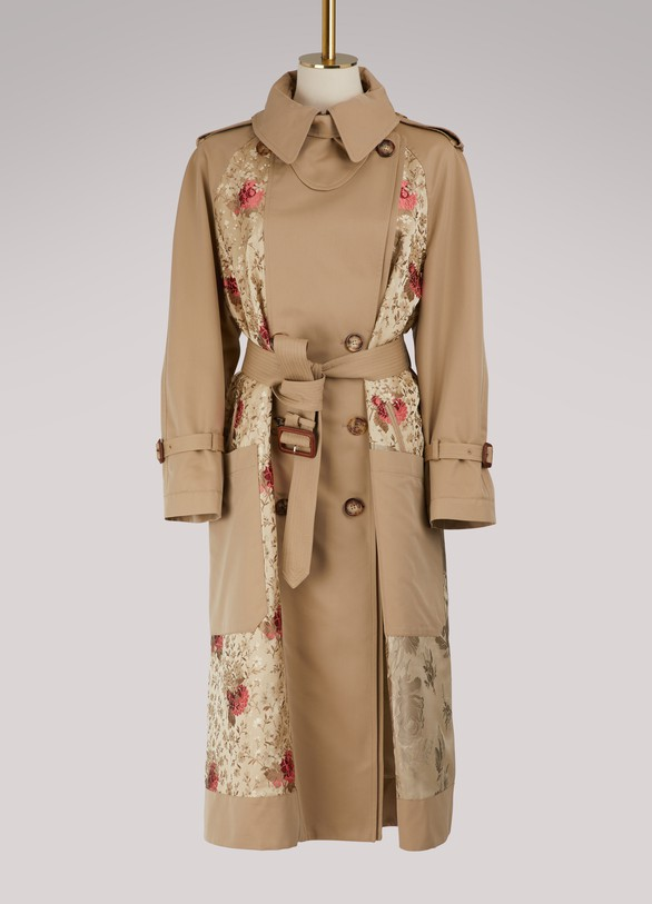 Alexander McQueenFloral patch trench coat