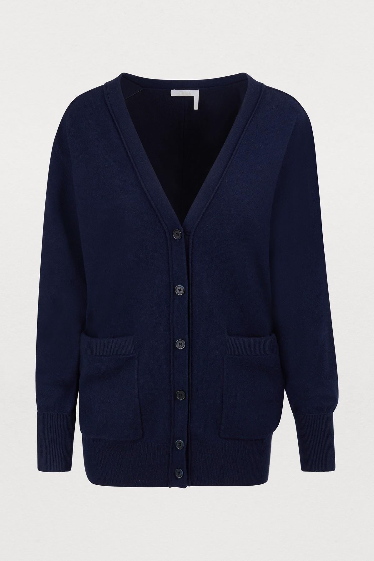 b38d23cc028268 ChloÉ Cashmere Cardigan In Evening Blue | ModeSens