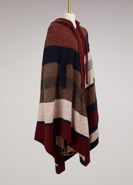 ChloéPoncho à capuche en laine