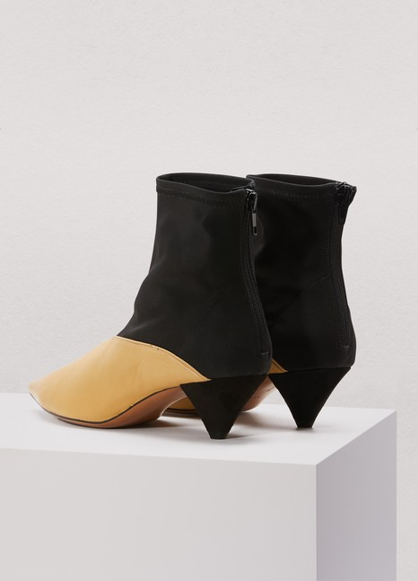 CélineSoft V-neck ankle boots in stretchy grosgrain and nappa lambskin
