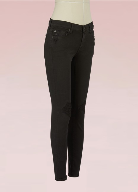 7 For All Mankind Jean skinny ajouré aux genoux