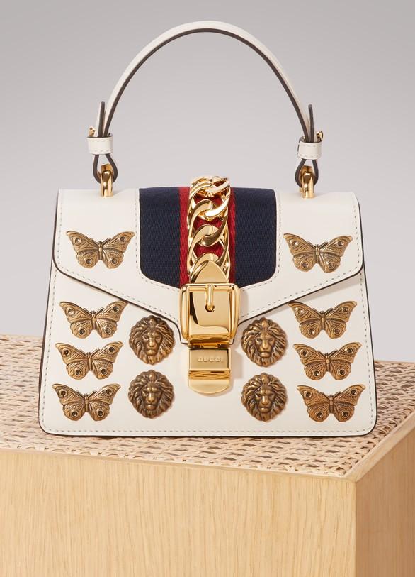 GucciSylvie animal studs leather mini bag